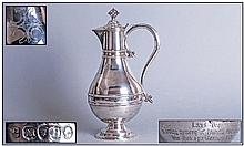 Victorian Pugin Style Silver Wine Jug, with a beak