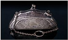 Silver Plated Opera Purse with Finger Ring and