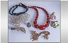Small Bag of Costume Jewellery including jet and