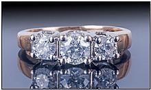 Ladies 14ct Gold Diamond Ring, Set with three