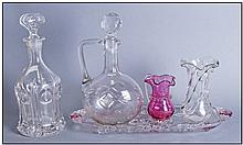 Five Various Items of Glass comprising Art Nouveau