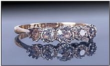 18ct Gold And Platinum 5 Stone Diamond Ring, good