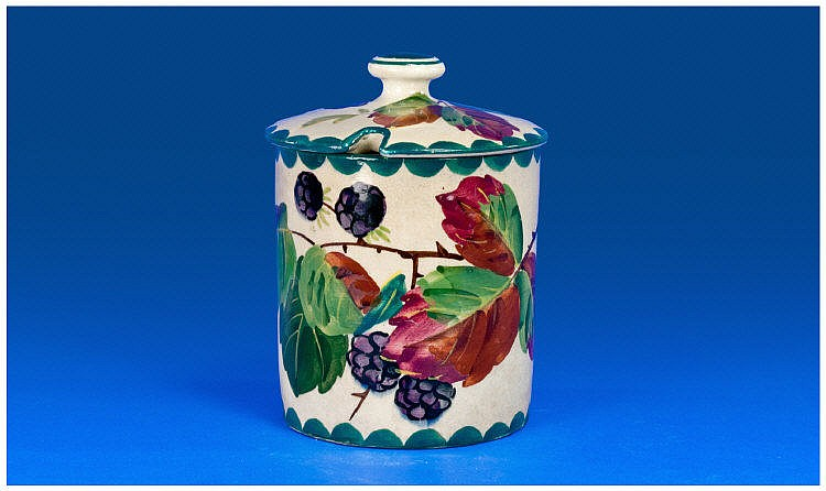 Wemyss Preserve Pot and Cover. Black berries and
