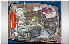 Box Of Miscellaneous. Comprising metal ware, part