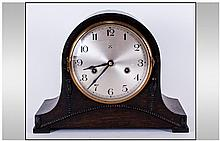 Oak Cased Mantel Clock, silvered dial, Arabic