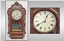 Victorian Rosewood Inlaid Wall Clock with column