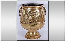 Dutch Brass Footed Planter Of Unusual Form, with