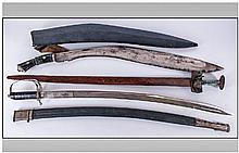 Military Interest. Three display swords.