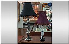 Two Contemporary Table Lamps. Both with shades.