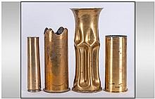 4 Brass Trench Art Shell Cases
