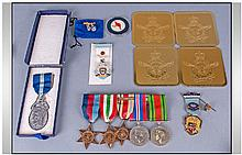 WW2 Interest, Bar Containing Five WW2 Medals