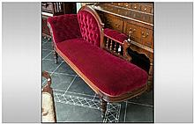 Victorian Mahogany Chaise Long, arched carved back