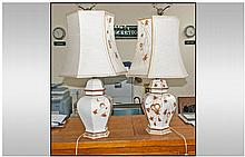 Pair Of Large Italian Designer Table Lamps Of Fine