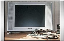 Samsung LCD Portable TV and remote control. Full
