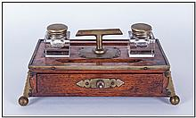 Wooden Inkwell decorated with brass border &