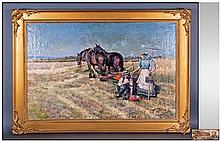 J Woods Late Victorian Oil On Canvas Ploughing The