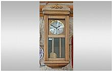 Large Wood Framed Wall Clock, silvered dial with