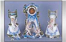 Three Piece Bisque German Clock Set 13 inches in