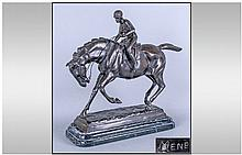P J Mene Bronze Horse and Jockey, 20thC version,