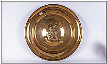 Large Brass Plaque With A Central Embossed Bass To