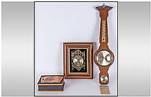 Pokerwork Card Box Oak Barometer Framed Clock,