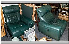Pair of Contemporary Green Leather Electric