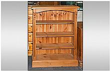 Pine 3 Shelved Open Bookcase, with adjustable