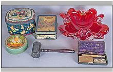 Box of Miscellaneous including a Ruby Glass dish,