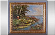 Oil on Canvas - Ducks and Ducklings by a Wooden