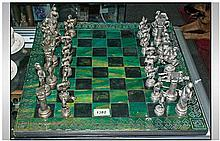 Chess Set, comprising chess board and metal Chess