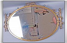 Edwardian Oval Brass Wall Mirror Of Unusual