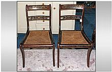 Pair Of Regency Rosewood Library Chairs, with cane