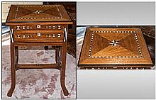 Anglo Indian Teak Side Table the top edge picked