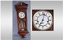 Modern Mahogany Effect Wall Clock, White Dial,