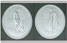 Pair of Plaster Oval Wall Plaques, In the