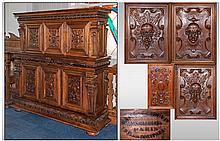 Antique Impressive French Borroc Style Walnut