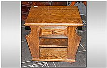 Small Oak Magazine Stand side Cabinet, with a