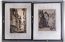Two Black and White Etchings one by Axel. H. Haig