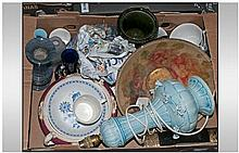 Box Of Assorted Ceramics Including Lamp Base,