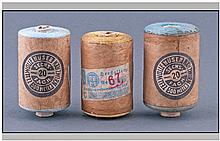 Three Vintage Spools Of Cotton.