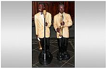 Pair of Resin Figures of a Jazz Singer and