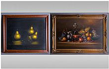 Large Oil on Canvas Still Life depicting fruit and