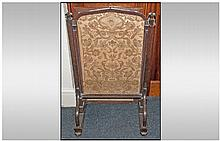 A Pugin Style Oak Fire Screen, with a sliding