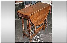 Drop Leaf Table. A Small Oak, Part 18th Century,