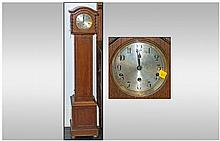 1930s Oak Grandmother Clock with round steel dial