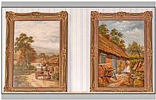 W.J.Hill Pair Of Large Oils On Canvas 'Cottages &