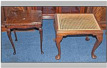 An Edwardian Bedroom Stool, Cabriol legs. Together