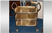 1960's Ranela Metal Three Tier Tea Trolley.