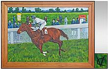 A Large Oil Painting on canvas of a Jockey Riding