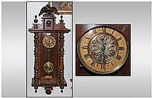 Late 19th Century Vienna Wall Clock. Gilt dial,